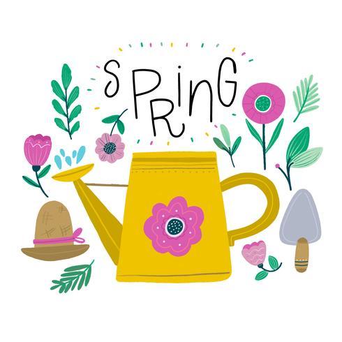 Nette Frühlingsblumen, Hut, Gießkanne zur Frühlings-Jahreszeit