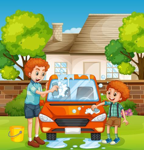 Glückliche Leute, die Auto waschen