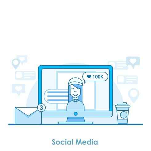 Social media banner strategy. A computer with an open network. Friends send messages, put the likes, notifications. Vector flat line illustration