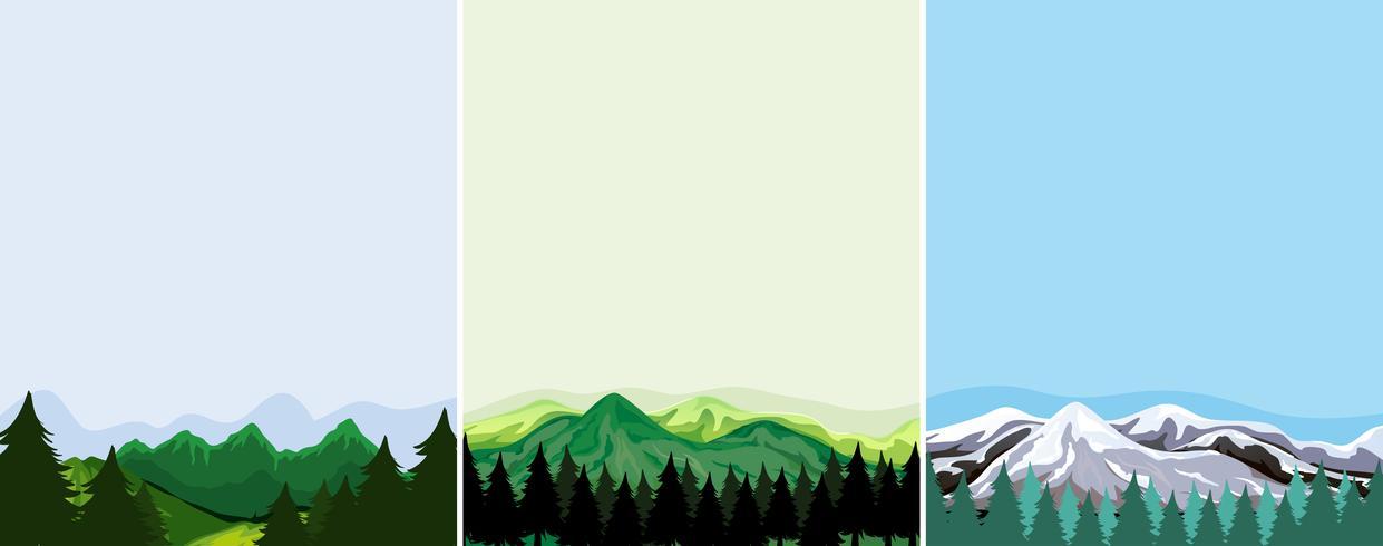 Een set bergsjabloon
