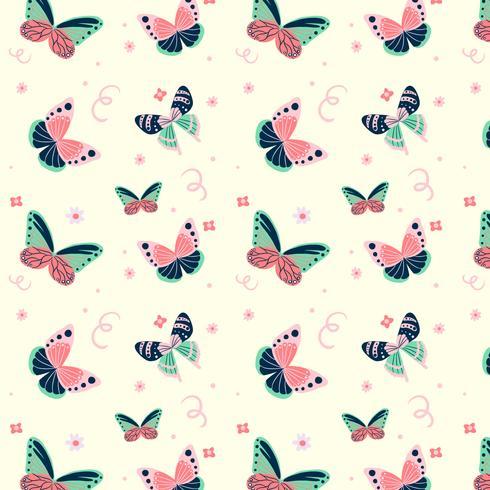 Lindo patrón de mariposa con elementos florales