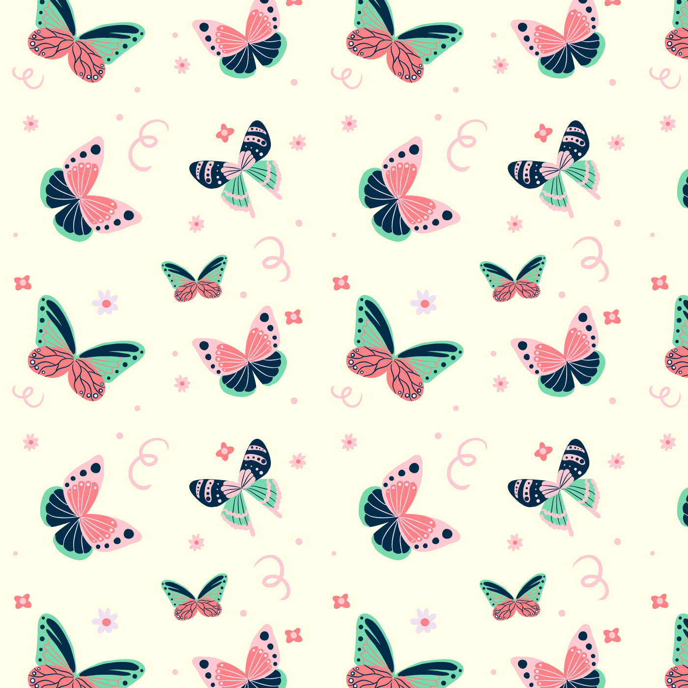 Cute Butterfly Pattern With Floral Elements