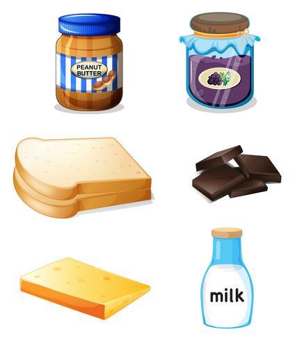 Olika livsmedel med vitaminer och mineraler