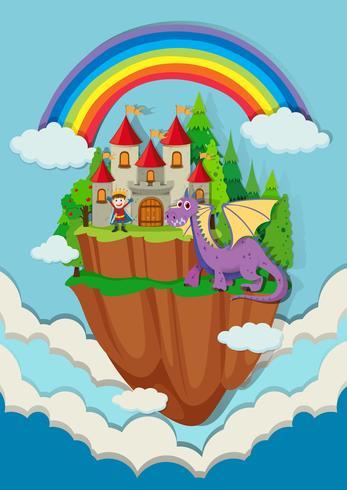 Príncipe y dragón en el castillo vector