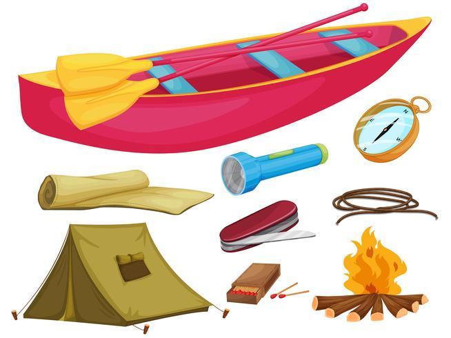 verschillende kampeerobjecten