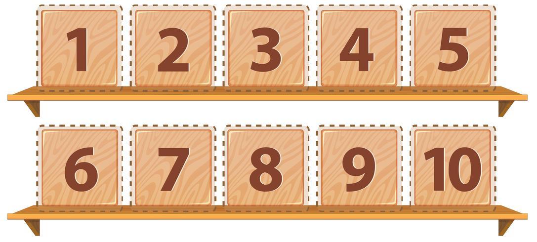 Número matemático en plantilla de madera