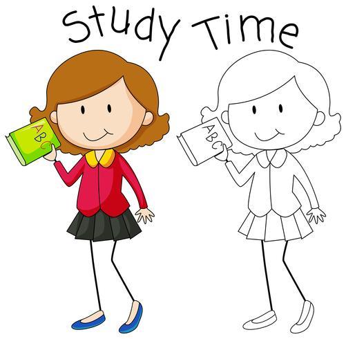 Doodle Mädchen Charakter Studie