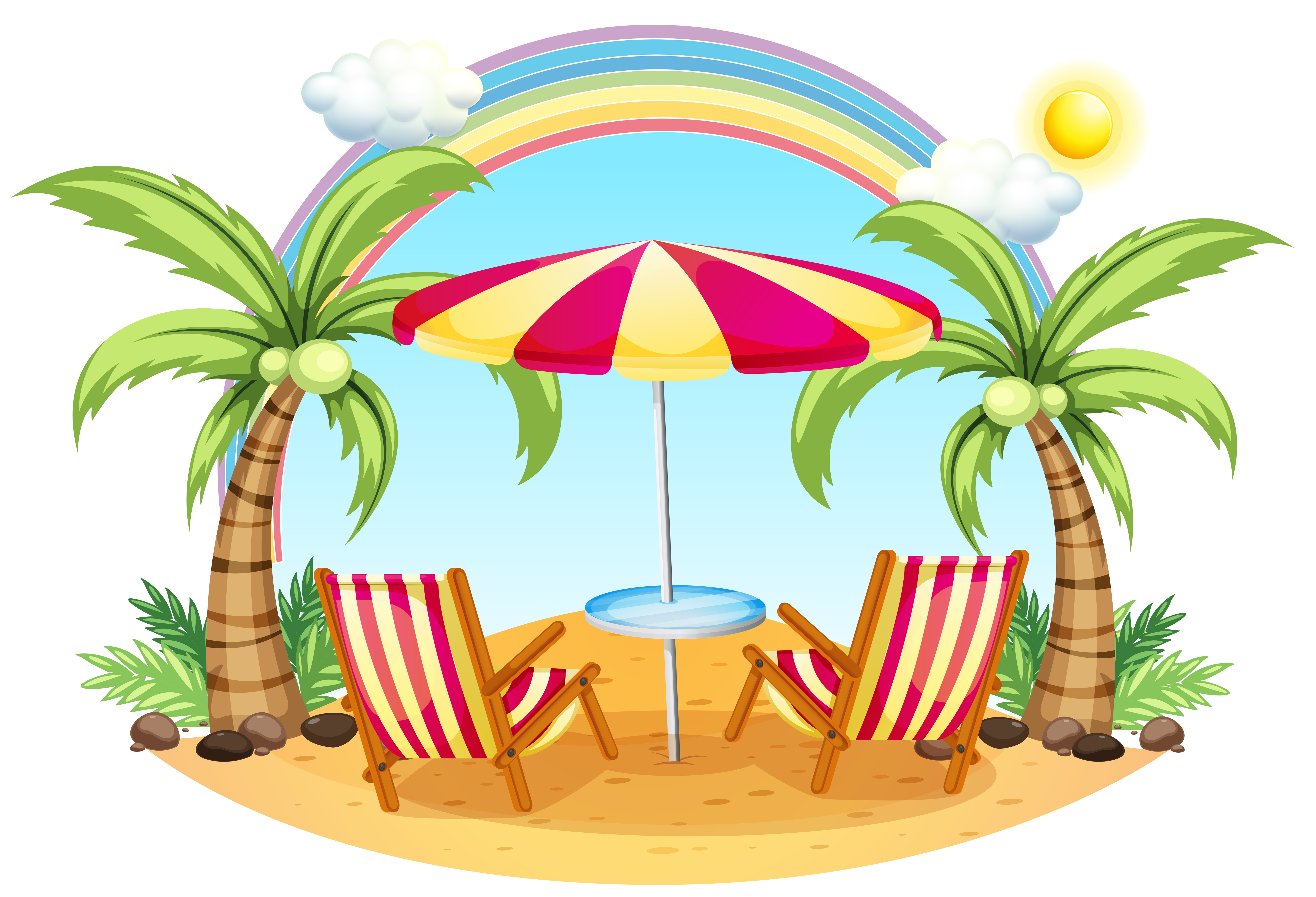 A seashore with a beach umbrella and chairs - Download ...