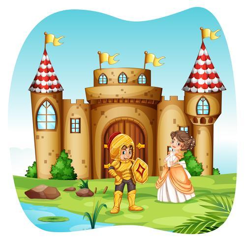 Ridder en prinses met castel