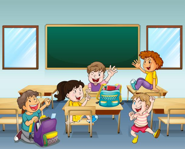 Alunos felizes dentro de uma sala de aula
