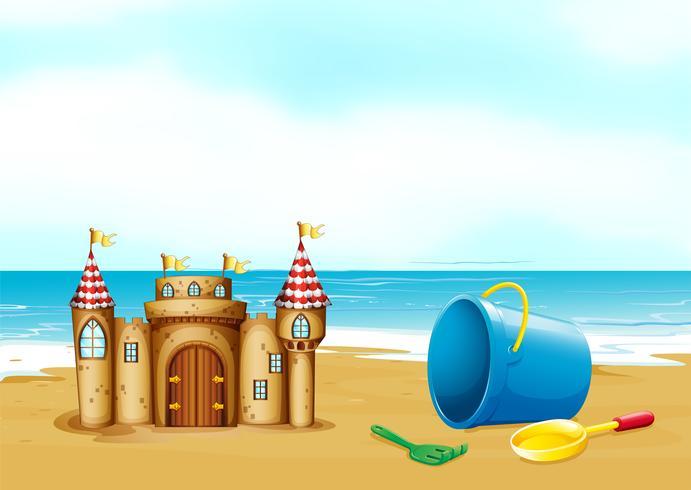 Un castillo en la playa vector