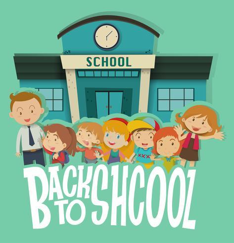 Leraar en studenten op de school