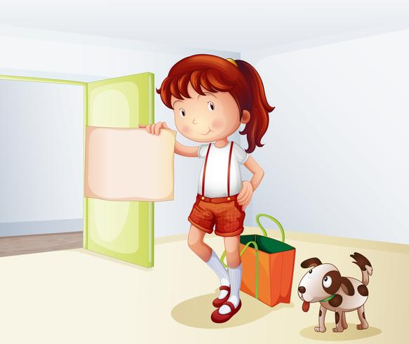 Ein Mädchen, das ein leeres Papier mit einer Tasche und einem Hund hält