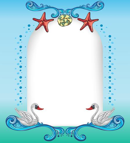 An empty surface with starfishes and swans