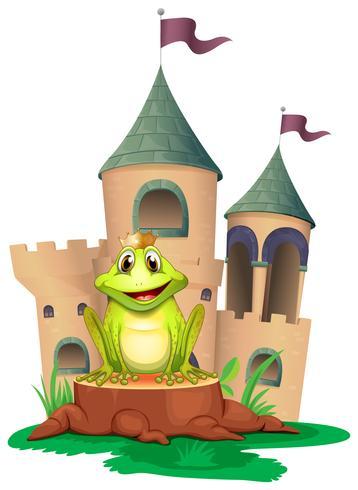 Ein Frosch, der am Wald mit einem Schloss auf der Rückseite sitzt