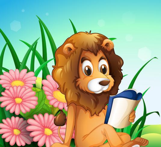 A lion reading a book at the garden