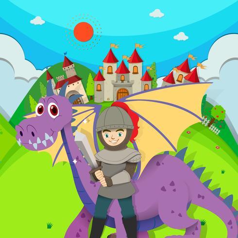 Caballero y dragón en el campo