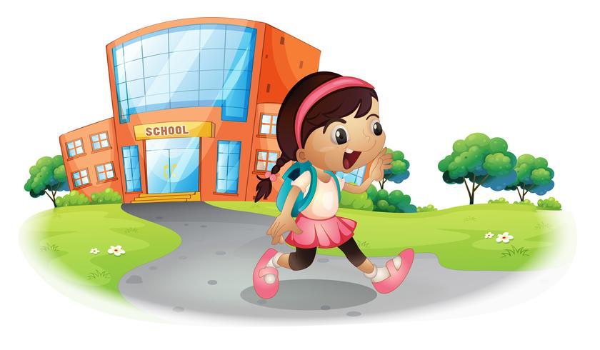 Un estudiante lindo que va a casa de la escuela