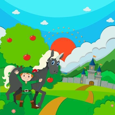 Caçador e cavalo no campo