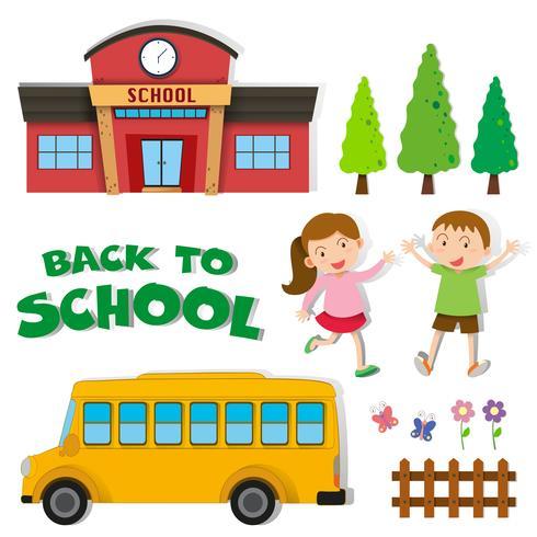 Zurück zur Schule mit Kindern und Schule