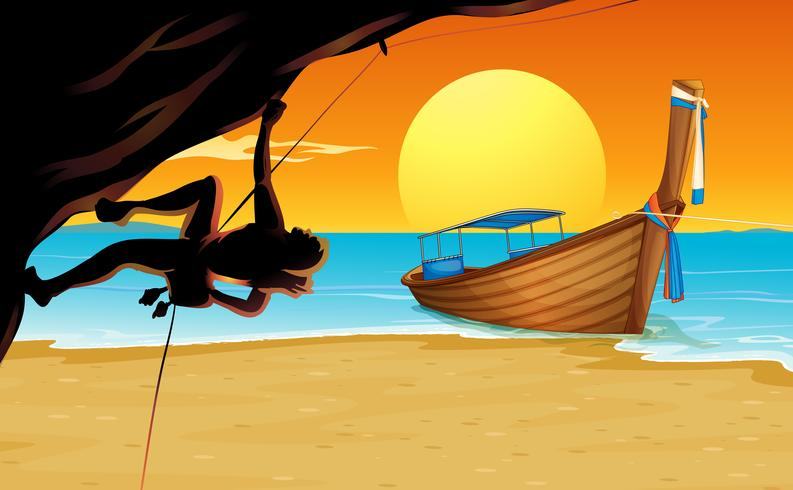 Scen med bergsklättrare och strand