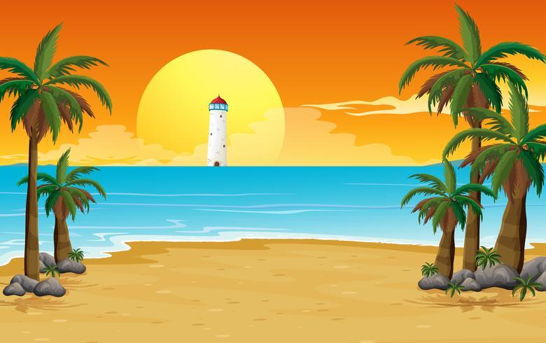 Een rustig strand met een vuurtoren
