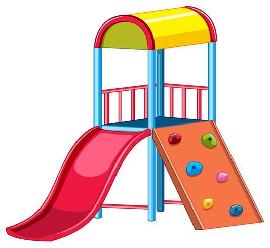 Equipo de parque infantil con tobogán y escalador.