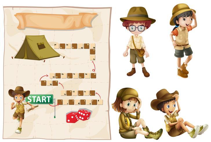 Spielvorlage mit Kindern im Safari-Outfit