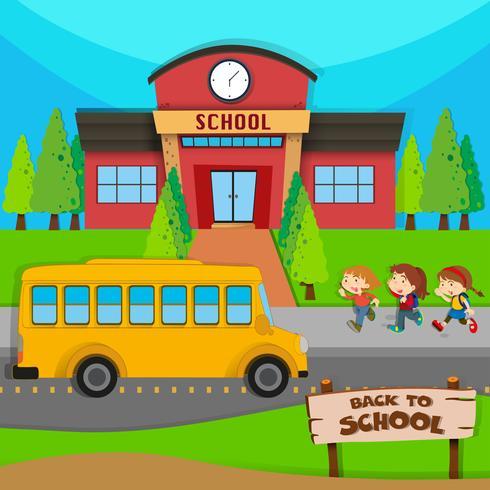 Niños y autobús escolar en la escuela.