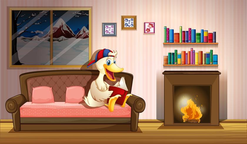 A duck reading a book beside a fireplace