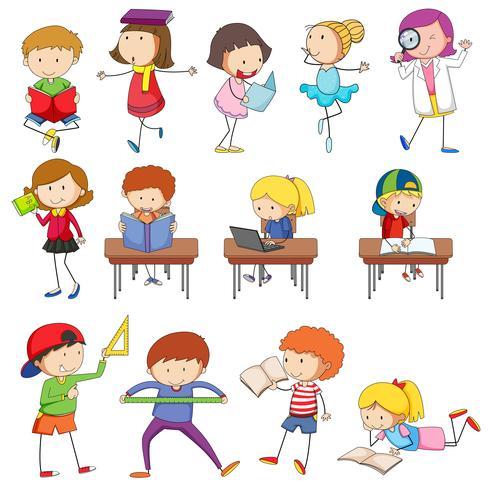Doodle kinderen karakter leren set