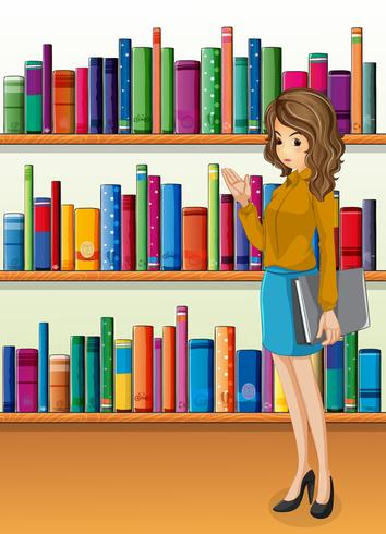 A lady holding a binder standing in front of the wooden shelves with books