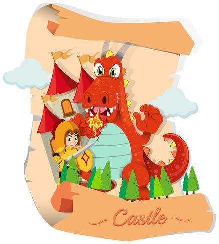 Caballero y dragón en el castillo