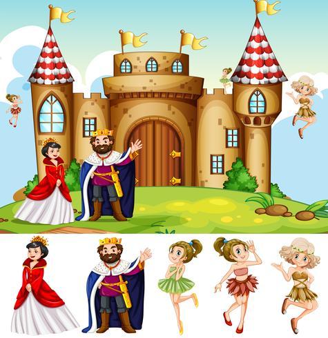 Rei e rainha no castelo vetor