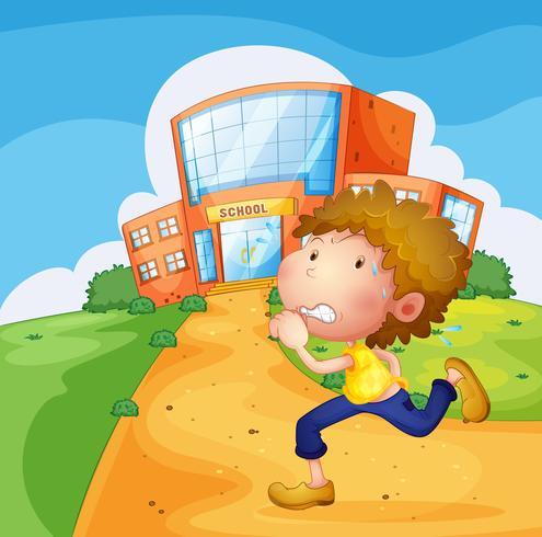Um menino jovem suado correndo