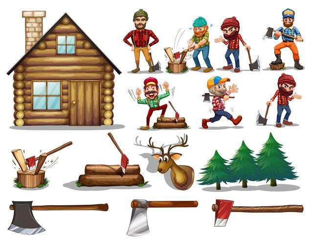 conjunto de madera