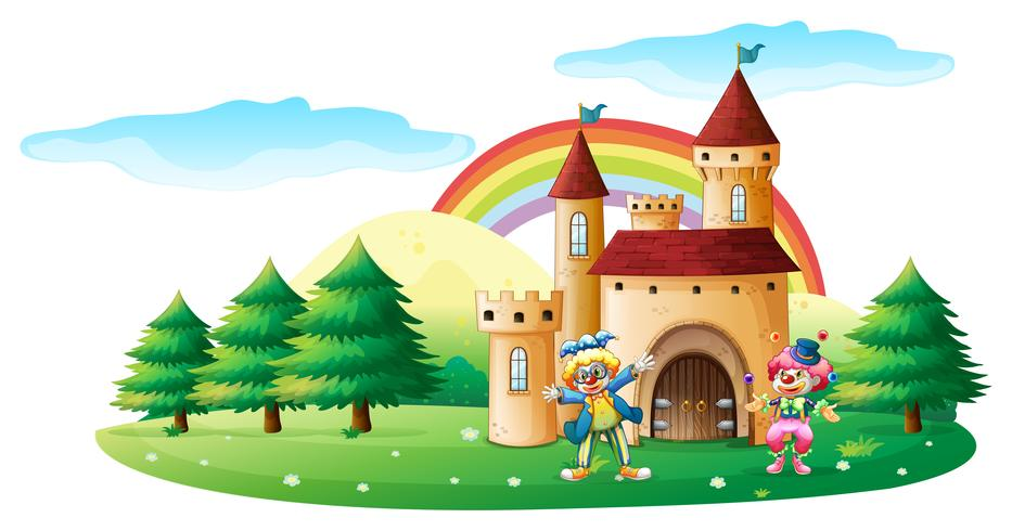 Dois palhaços na frente de um castelo