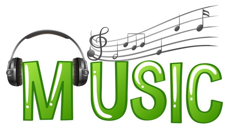 Design de fonte para música de palavra com notas de fone de ouvido e música