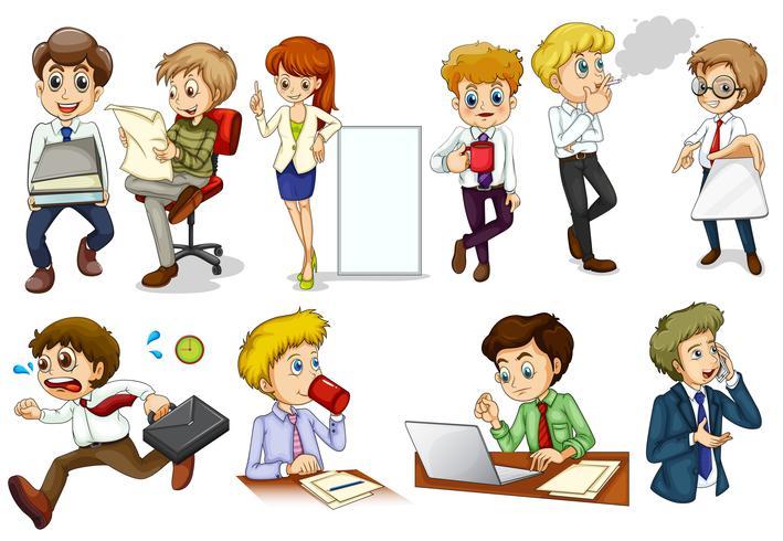 Pessoas com mentalidade de negócios participando de diferentes atividades