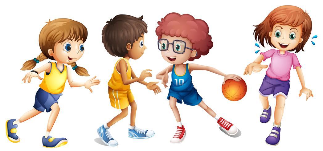 Kinderen die basketbal op witte achtergrond spelen