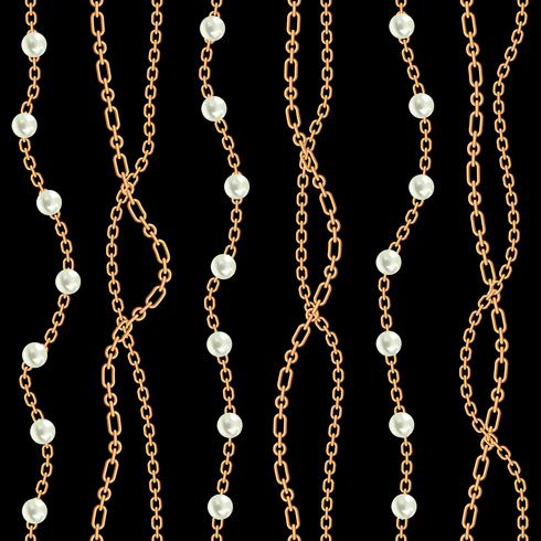 Seamless pattern background with pears and chains golden metallic necklace. On black. Vector illustration