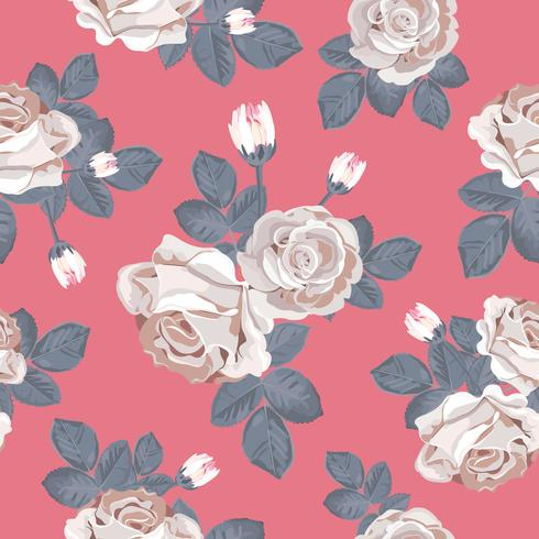 Retro floral seamless pattern. White roses with blue gray leaves on red background. Vector illustration