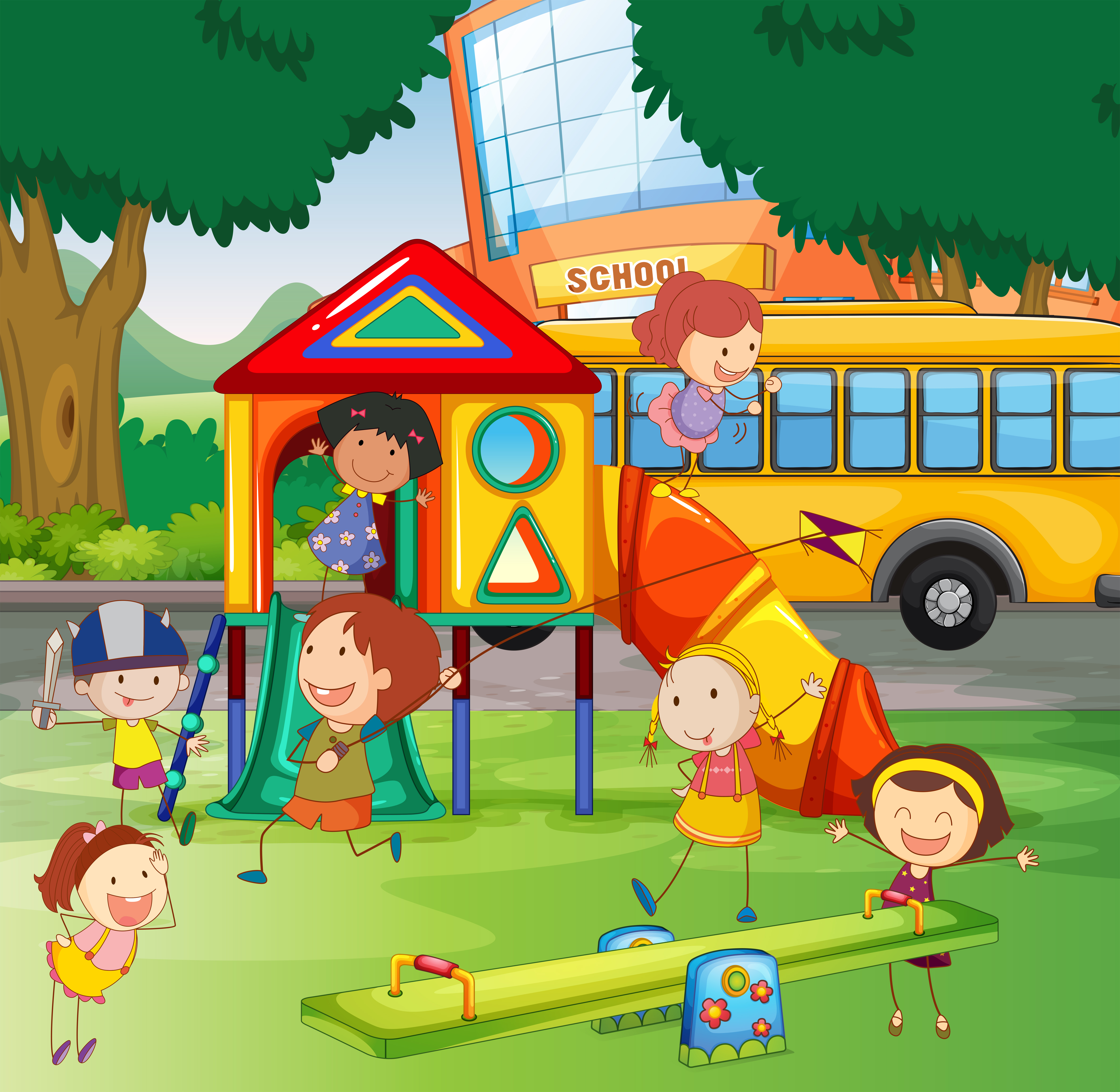 Children playing in the school playground - Download Free ...