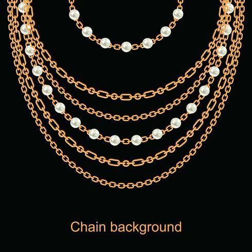 Fundo com peras e correntes colar metálico dourado. Em preto