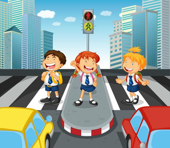 Children crossing the road on zebra crossing vector