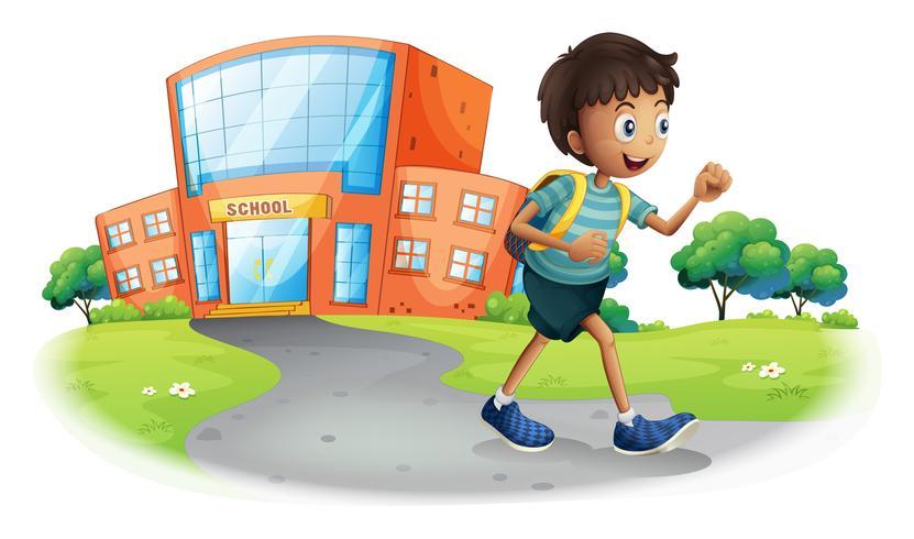 Een jongen die van school naar huis gaat