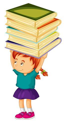 Muchacha que lleva la pila de libros en su cabeza