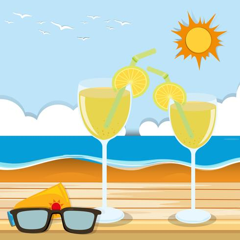 Cocktail glasses by the sea