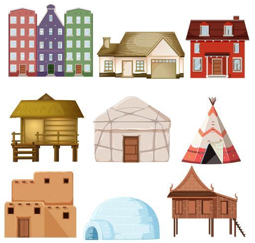 Conjunto de diferentes estilos de casa.