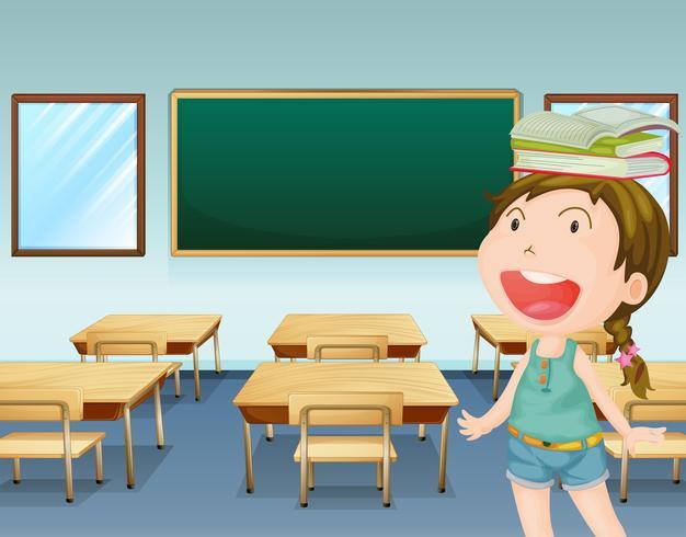 A young girl inside a classroom vector